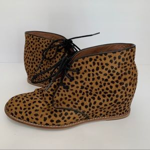 Matiko Leopard Pony Hair Lace Up Wedge Booties